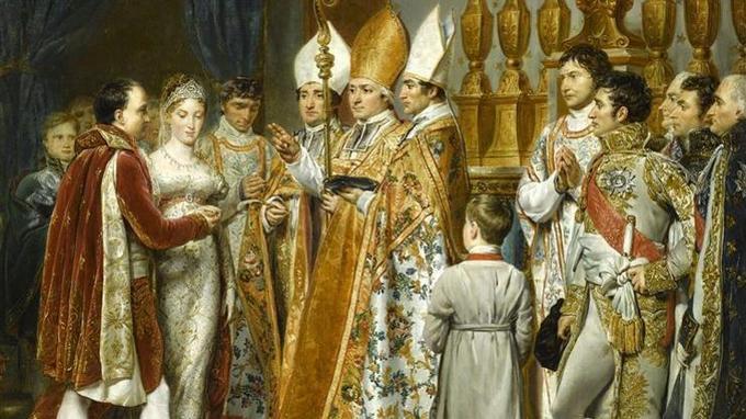 Mariage religieux de Napoléon 1er et de Marie-Louise d'Autriche dans le salon carré du Louvre le 2 avril 1810.