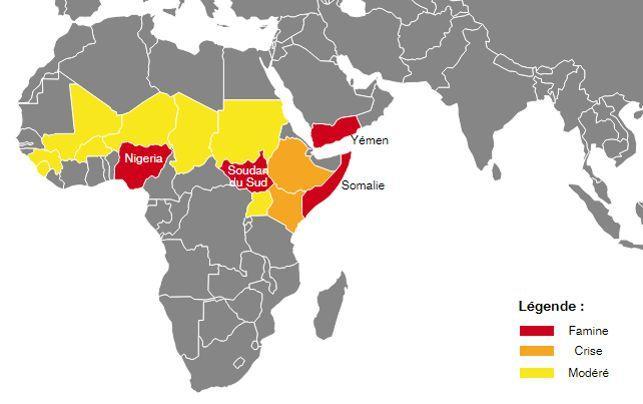 L'urgence alimentaire en Afrique et au Yémen. Carte <i>Le Figaro</i>