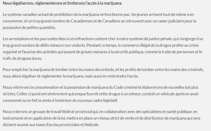 Le parti libéral de Justin Trudeau réaffirme sur son site sa volonté de légaliser et réglementer le cannabis.