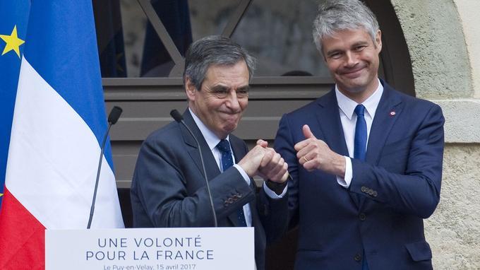 François Fillon et Laurent Wauquiez, samedi, au Puy-en-Velay.