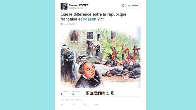 Capture de l'un des tweets de Samuel Potier comparant Daesh à la République.