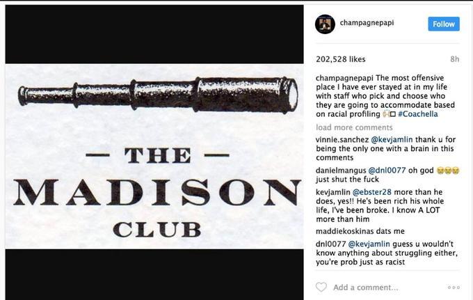 Capture d'écran du message Instagram de Drake posté lundi 17 avril et supprimé mardi 18 avril.