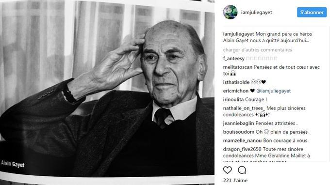 Julie Gayet a annoncé la mort de son grand-père sur Instagram.