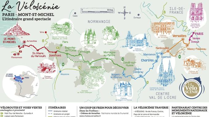 La carte indiquant les grandes étapes de la Véloscénie. © Véloscénie.