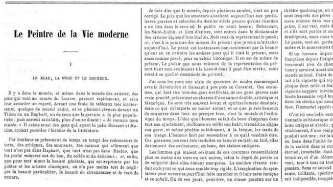 Extrait de la Une du <i>Figaro</i> du 26 novembre 1863: le premier épisode du feuilleton «Le peintre de la vie moderne» signé Charles Baudelaire. ©RetroNews source BnF.
