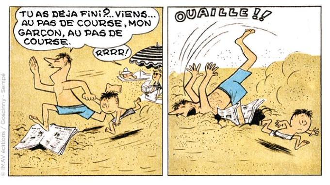 Dans ces deux cases inédites exclusives publiées par Le Figaro.fr, on voit que le Petit Nicolas part en vacances à la mer en famille... Et que le papa du garnement dessiné par le jeune Sempé est la cible préférée des auteurs.