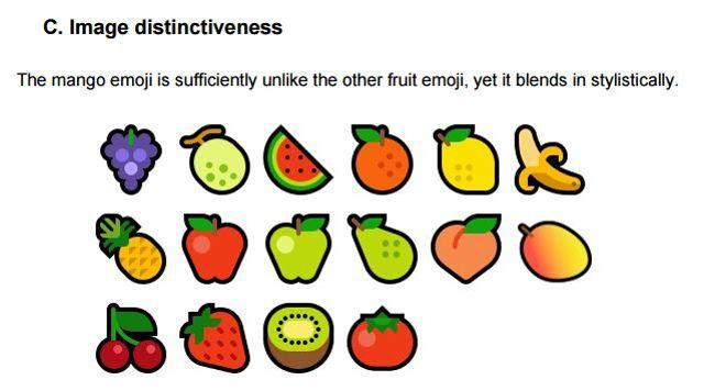 L'émoji mangue, bien distinct des autres fruits.