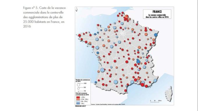 Source: La vacance commerciale dans les centres-villes en France, Cahier de l'Institut pour la ville et le commerce, mai 2017