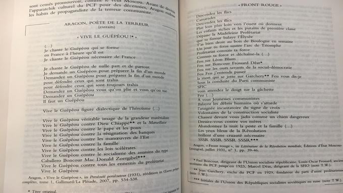 Poème d'Aragon datant de 1931 (Extrait de <i>Les Complices</i>).