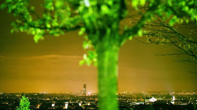 Vue nocturne de Paris prise depuis la butte Montmartre. Il existe aujourd'hui dans la capitale intra-muros 620 ha de jardins privés et 580 ha de jardins publics.