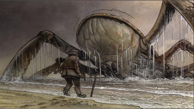 Image sidérante: quand un crustacé géant s'échoue sur les rives d'un petit port de pêche dans les années 30...