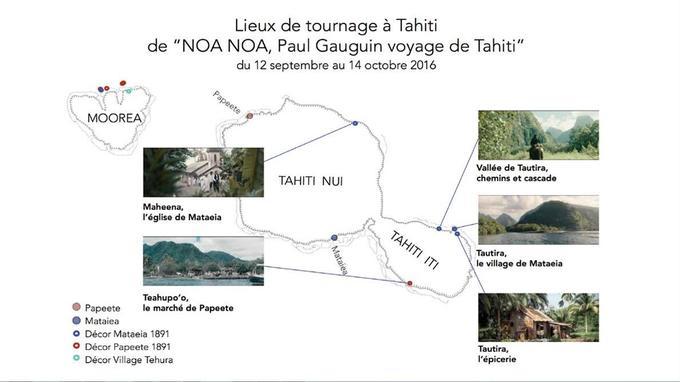 Lieux de tournage à Tahiti du film d'Édouard Deluc «Gauguin -Voyage de Tahiti», avec Vincent Cassel dans le rôle de l'artiste.