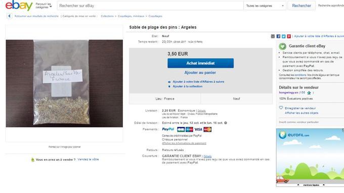 Du sable, présenté comme provenant d'Argelès-sur-Mer (Pyrénées-Orientales), est vendu illégalement sur le site d'e-commerce eBay.