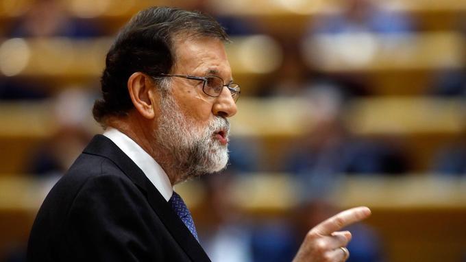 Mariano Rajoy s'exprime devant le Sénat espagnol, vendredi, pour demander formellement l'application de mesures exceptionnelles au titre de l'article 155 de la Constitution.