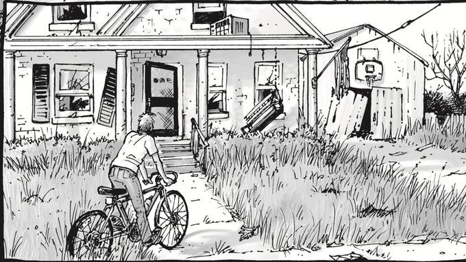 Cette case tirée de la 14e planche du premier volume de «The Walking Dead», pourrait être titrée «le cauchemar américain».