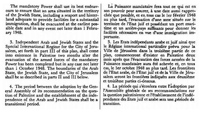 Extrait de la résolution 181 sur le plan de partage de la Palestine et la fin du mandat britannique, adoptée le 29 novembre 1947 par l'Assemblée générale des Nations Unies.