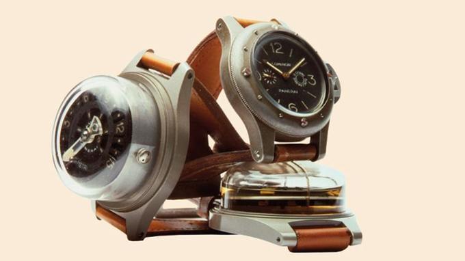 Modèles historiques <br/>de Panerai, fournisseur d'instruments de précision <br/>de la Marine militaire italienne pendant tout le XXesiècle.