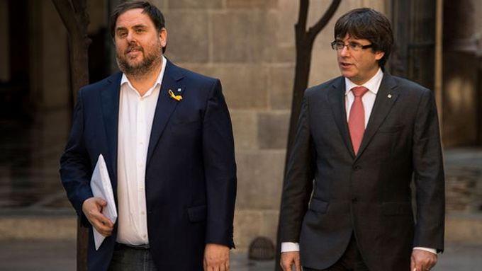 Oriol Junqueras (ERC) et Carles Puigdemont (PDeCat) étaient respectivement vice-président et président de l'exécutif catalan jusqu'au 27 octobre.