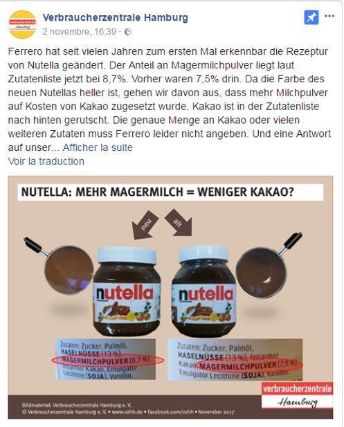 À gauche, un pot de Nutella «nouvelle version» qui semble plus clair par rapport à celui de droite.