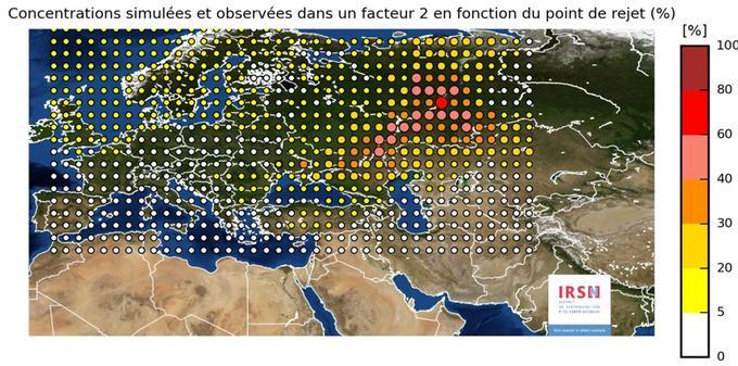 Chaque point sur cette carte exprime la probabilité qu'il puisse être l'origine du rejet de ruthénium 106.