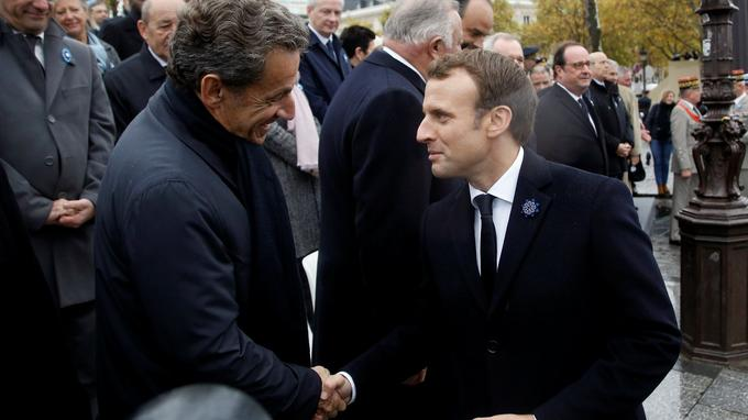 Nicolas Sarkozy et Emmanuel Macron samedi 11 novembre 2017 à Paris.