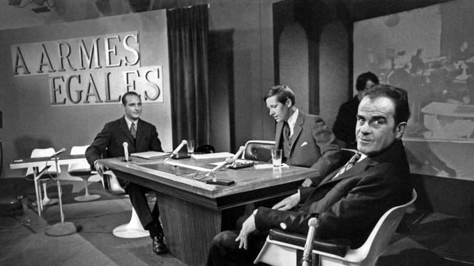 Georges Marchais et Jacques Chirac au cours de l'émission À armes égales en 1971.