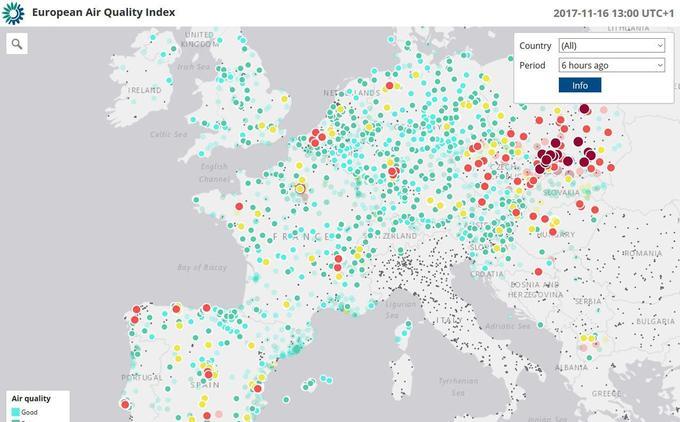 Capture d'écran de la carte de l'indice européen de la qualité de l'air, le 16 novembre 2017.