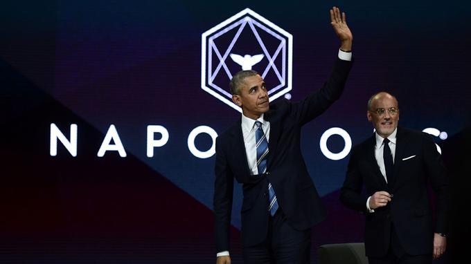 Barack Obama et Stéphane Richard, Pdg d'Orange, samedi à Paris.