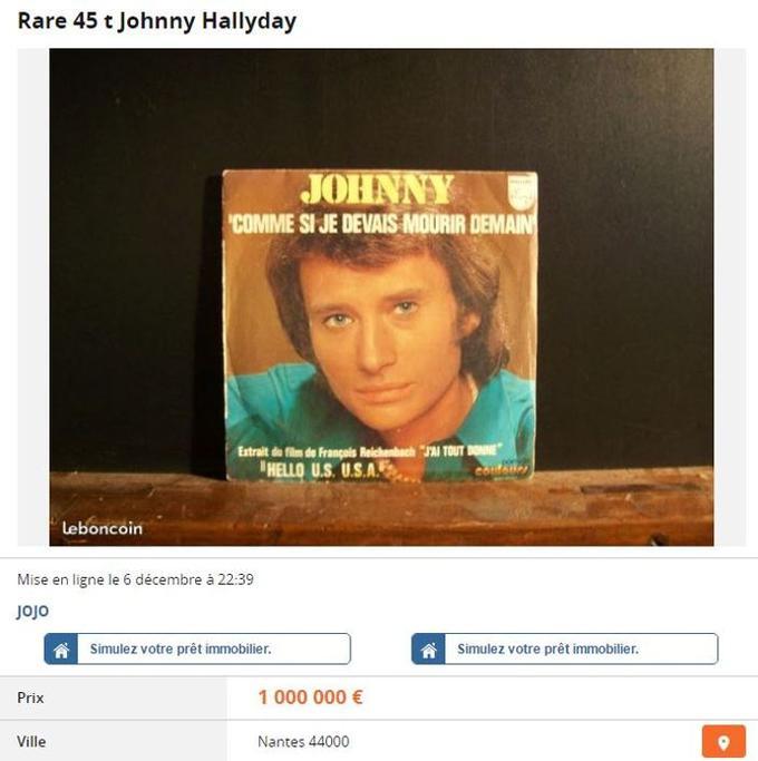 Un 45 tours de Johnny Hallyday est vendu 1 million d'euros sur leboncoin (capture d'écran).