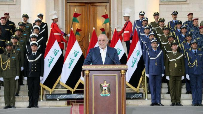 Le premier ministre irakien Haider al-Abadi annonce la fin de la guerre contre l'État islamique, samedi 9 décembre 2017 à Bagdad, en Irak.