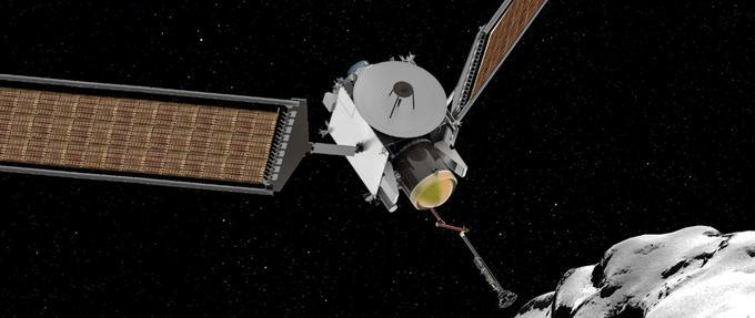 Vue d'artiste de la mission CAESAR, qui doit prélever un échantillon à la surface de la comète visitée par Rosetta.