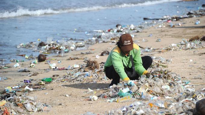 Des personnes portant des combinaisons vertes participent au nettoyage des plages.