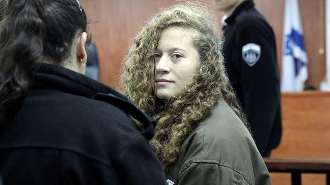 Ahed Tamimi, lors de sa comparution devant le tribunal militaire, le 1er janvier.