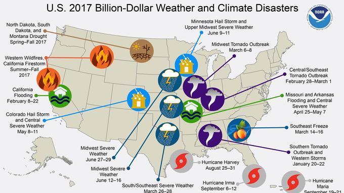 Les catastrophes naturelles ont coûté 306 milliards aux États-Unis en 2017