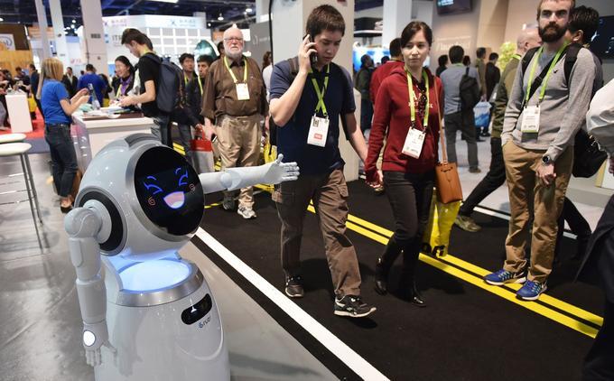Un robot de la marque Ubtech vu au CES 2018