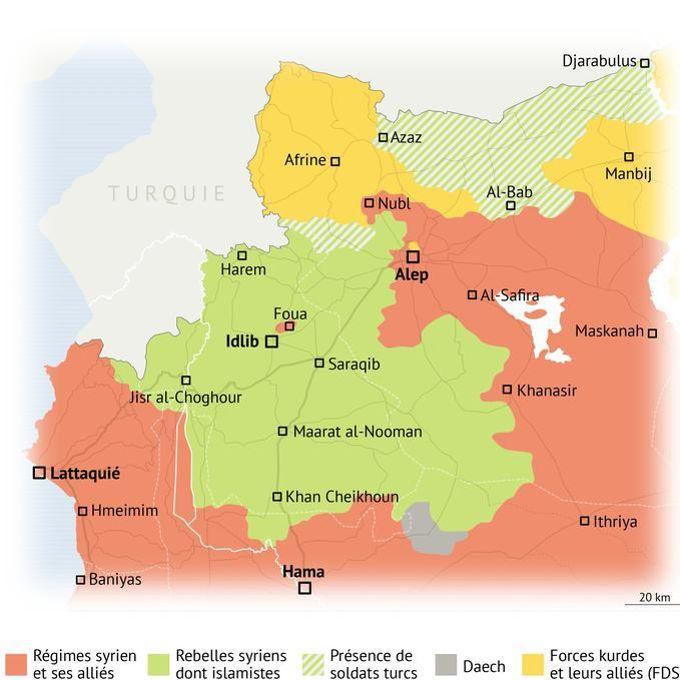 La poche kurde d'Afrine est enclavée par rapport aux autres territoires kurdes, plus à l'Est (situation à la mi-décembre).