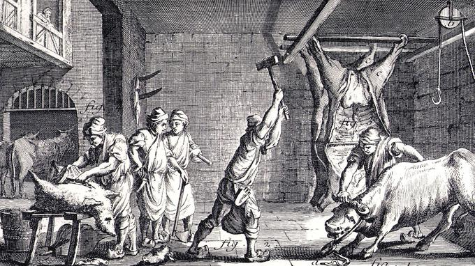 Ancienne gravure montrant les animaux abattus puis découpés dans une boucherie vers 1650.