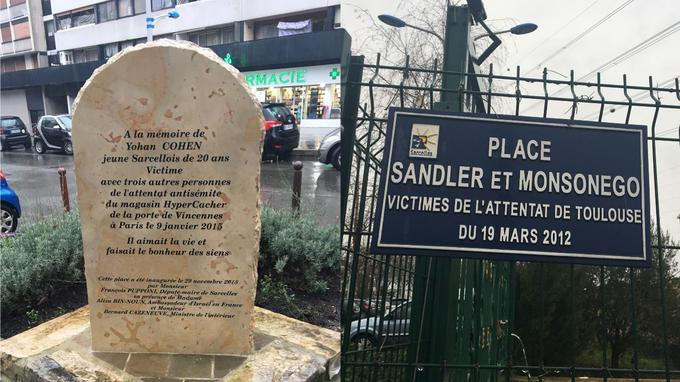 La stele per Yoan Cohen e la piazza dedicata alle vittime dell'attentato alla scuola ebraica di Tolosa
