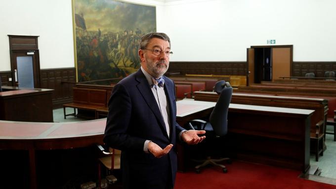 Luc Hennart, le président du Tribunal de Bruxelles dans la salle où le procès d'Abdeslam aura lieu.