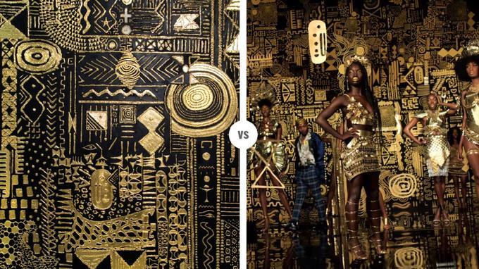 À gauche, le travail de Lina Iris Viktor. À droite, une capture d'écran du clip de Kendrick Lamar et SZA.