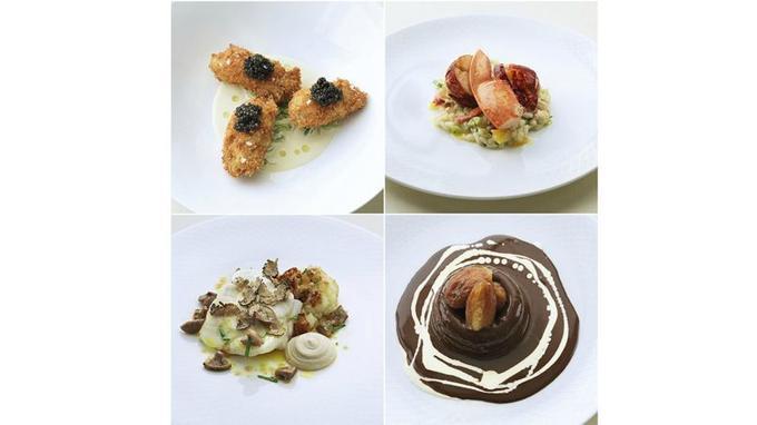 Huîtres croustillantes accompagnées de caviar, risotto de homard orange-ciboule, turbot et ses truffes noires ou dessert caramel et dattes juteuses.