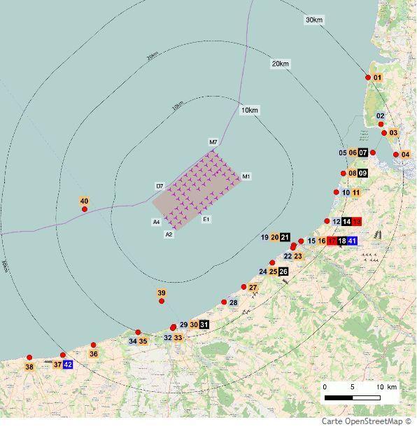 La zone d'implantation prévue devant Dieppe et Le Tréport.