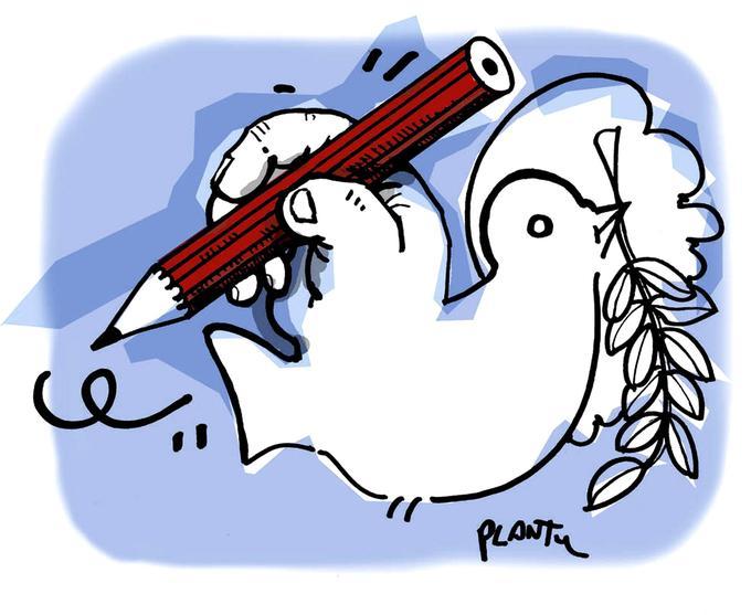 «Colombe au crayon» - Feutre noir sur papier, coul. num. non publié, août 2004. Logo de Cartooning for Peace.