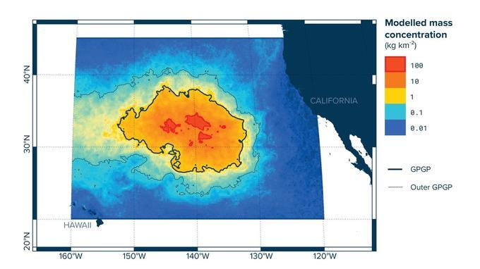 Le «Great Pacific Garbage Patch» (GPGP) modélisé par les chercheurs de The Ocean Cleanup.