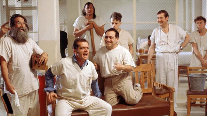 Jack Nicholson et ses compères de l'asile dans «Vol au-dessus d'un nid de coucou».