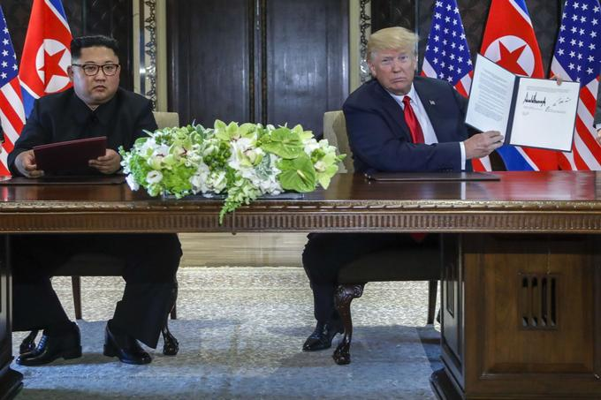 Kim Jong-un et Donald Trump à Singapour.