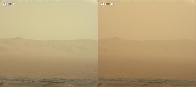 Évolution de l'opacité de l'atmosphère à cause de la tempête, vue par le rover Curiosity, situé de l'autre côté de la planète par rapport à Opportunity.