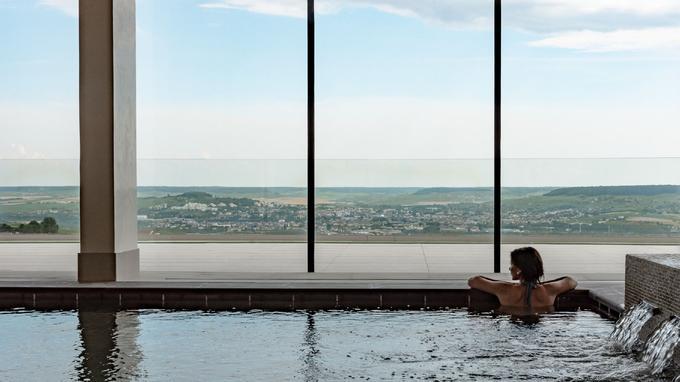 La piscine intérieure, plein cadre sur la vallée de la Marne