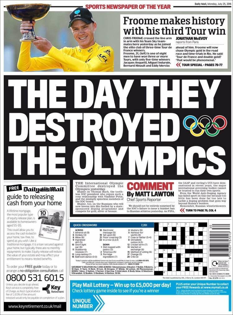 La Une du Daily Mail Sport du 25 juillet 2016