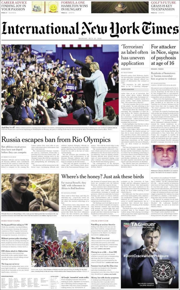 La Une de l' International New York Times du 25 juillet 2016